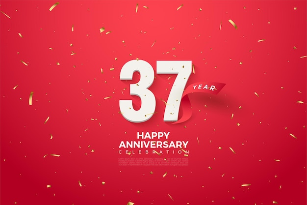 37th anniversary with numbers and red ribbon