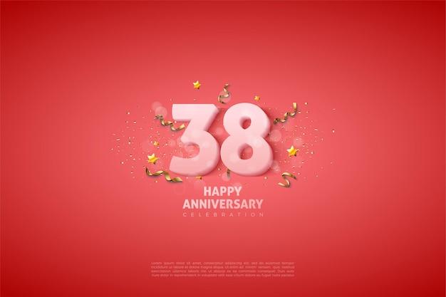 38-я годовщина 38-летия с мягкими белыми цифрами