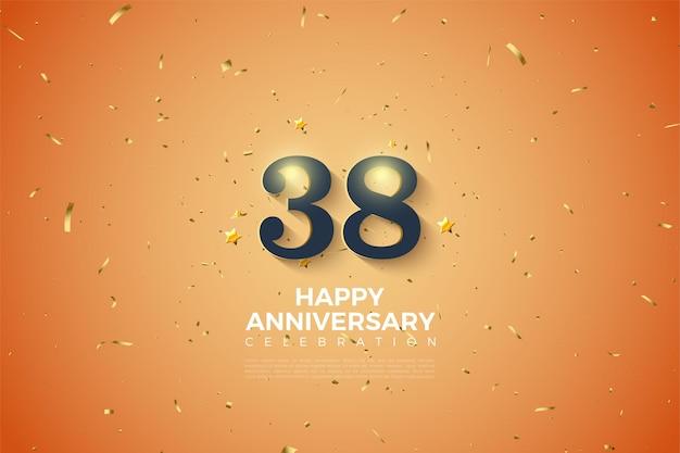 부드러운 음영 숫자가있는 38 주년 기념 배경