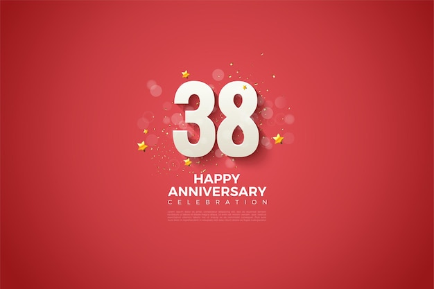38-я годовщина с иллюстрацией дизайна причудливой фигуры на красном фоне