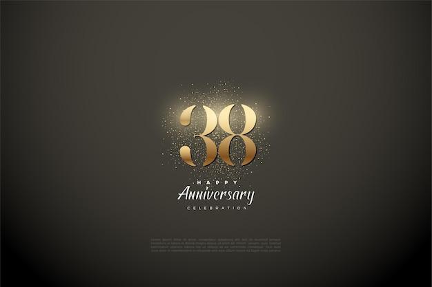 38-я годовщина с золотыми цифрами и блеском Premium векторы