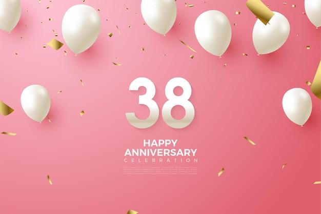 숫자와 풍선이있는 38 주년