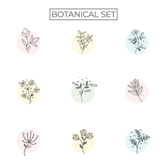39. набор природных тропических листьев векторный логотип шаблон
