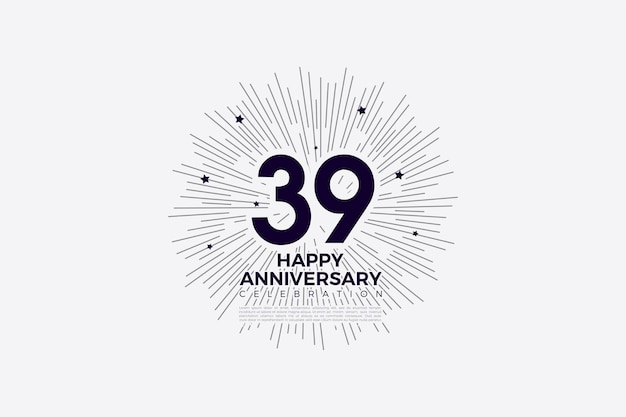 39-я годовщина с черными цифрами на белом
