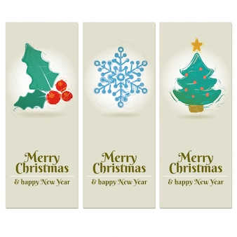 ドローイングスタイルの3つのメリークリスマスと新年のラベル