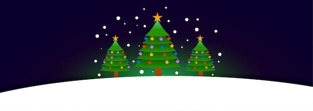 テキストスペースを持つ3つのクリスマスツリーバナー