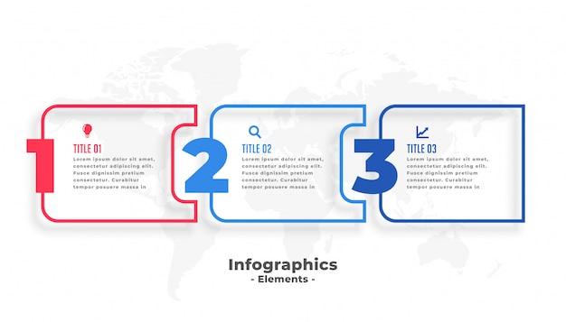 3つのステップビジネスインフォグラフィックプレゼンテーションテンプレート