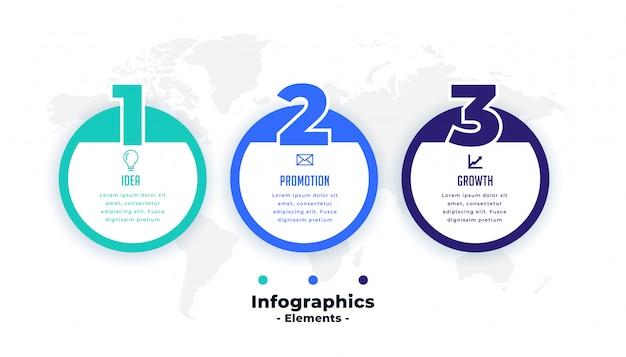3つのステップのプロの円形インフォグラフィックテンプレート