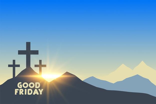 日の出グッドフライデーの背景を持つ3つのクロスシンボル