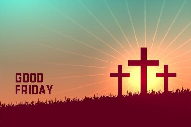 金曜日の良いイベントの3つの十字架シーン