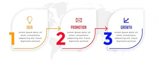 モダンな3つのステップビジネスインフォグラフィック方向テンプレート