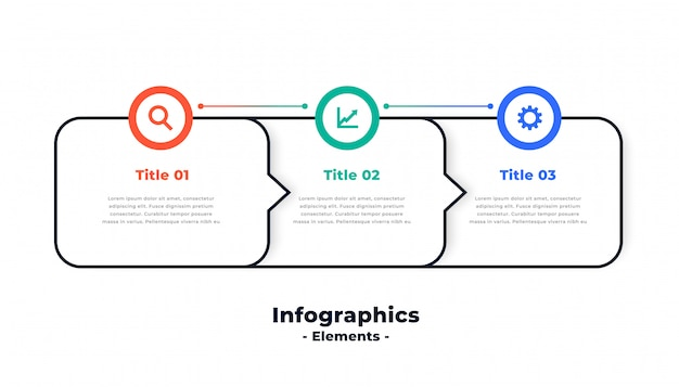 3つのステップのモダンな指向性インフォグラフィックテンプレートデザイン