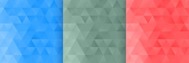 3つの三角形の形状パターン背景セット