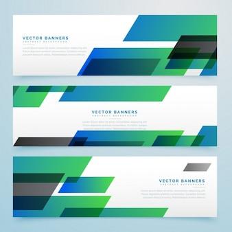 緑と青の幾何学的形状を有する3バナー