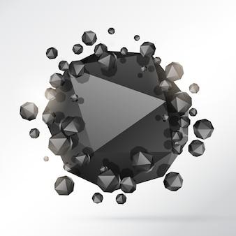 抽象的な3次元幾何学形状の粒子の背景