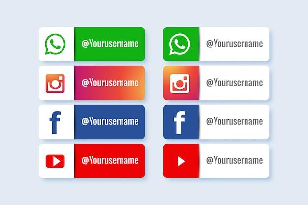 ソーシャルメディアの下部3番目のアイコンのセット