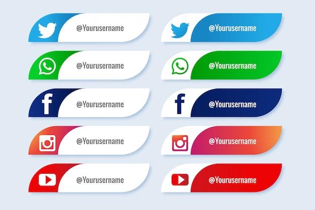 人気のソーシャルメディアの下位3番目のアイコンクリエイティブセット