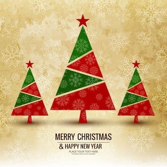 3クリスマスツリーと背景
