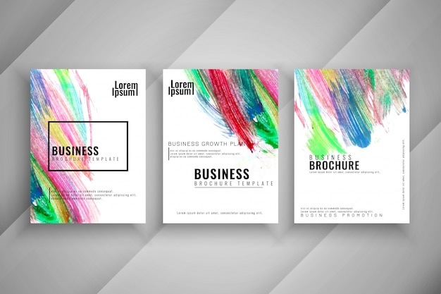 抽象的なカラフルな3つの近代的なビジネスのパンフレットセット