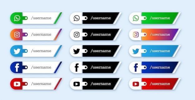 ソーシャルメディアの下の3番目のアイコンのセット