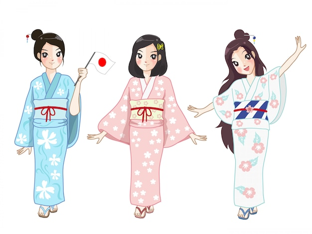 3 японских девушки нося костюм японских женщин на фестивале.