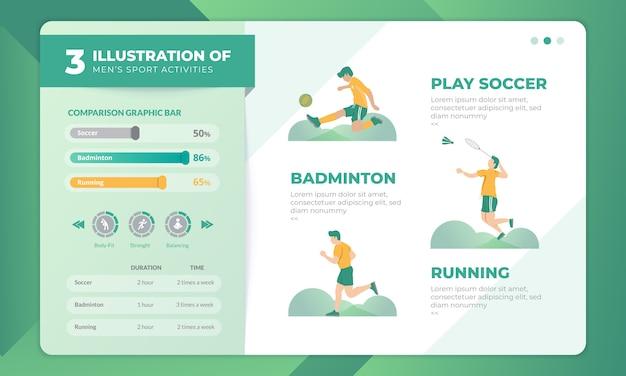 3 иллюстрации мужских спортивных мероприятий с инфографикой на шаблоне целевой страницы