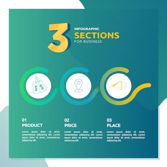 ビジネステンプレートの3つのセクションを持つインフォグラフィック