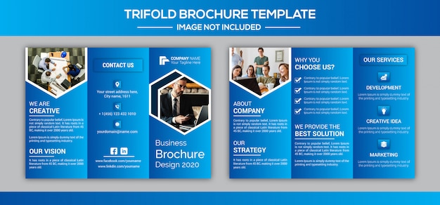 企業ビジネス3つ折りパンフレットのデザインテンプレート