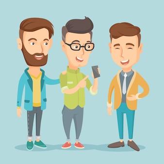 携帯電話を見て笑顔の3人の友人。
