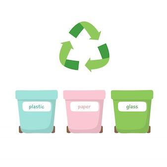 プラスチック、紙、ガラス用のゴミの分別 -  3種類のゴミ箱のイラスト -