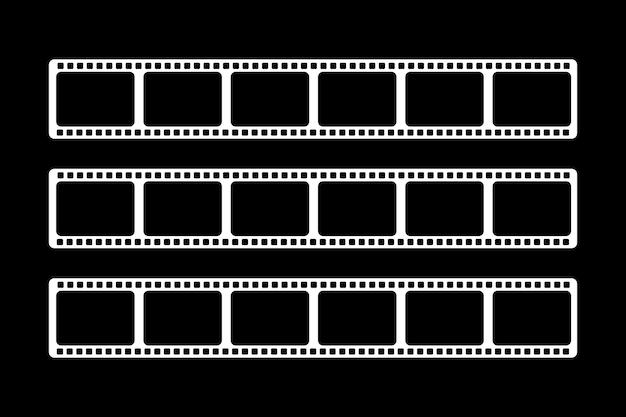 サイズの異なる3つの白いビデオフィルムが表示されます