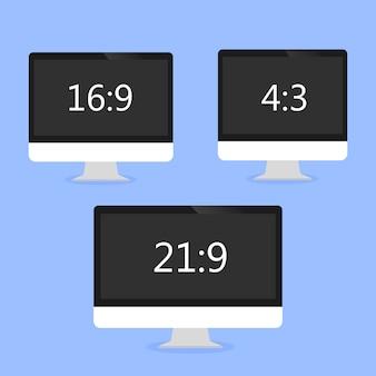 異なるサイズの青色の背景に3台のコンピューター