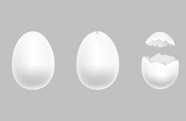 3 шага яйца: целые, треснувшие, сломанные.