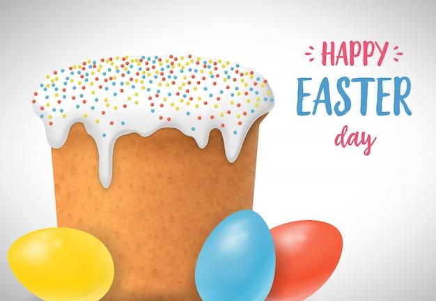 3色の卵とイースターケーキを持つハッピーイースターの日レター