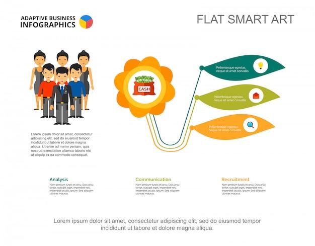 3つのオプション金融プロセスチャートテンプレート。ビジネスデータ。