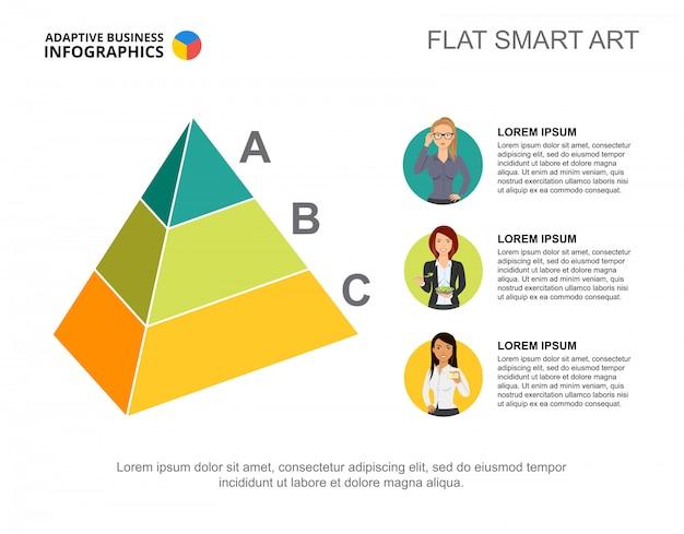 プレゼンテーションのための3つのレベルのピラミッドプロセスチャートテンプレート