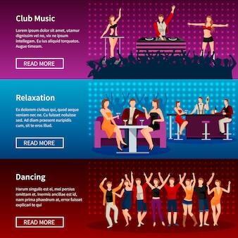 ナイトライフエンターテインメント最高のダンスクラブのウェブページ3フラットバナーデザイン