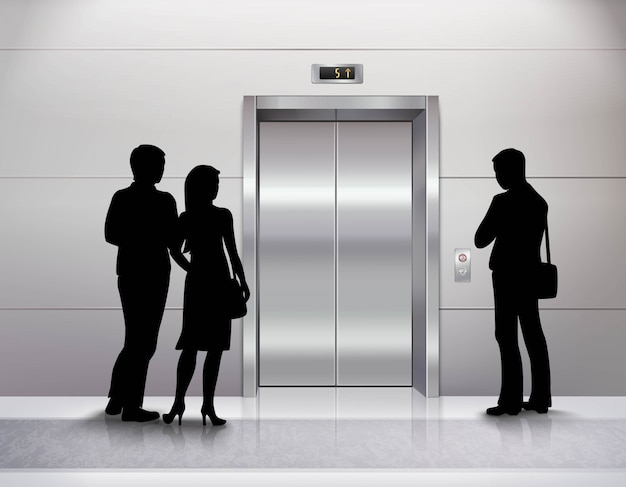 3人の男性と女性の人々のシルエットが立っています。
