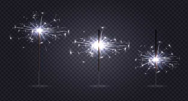 ベンガルライト花火は、燃焼のさまざまな段階で3本の棒で透明に現実的な設定