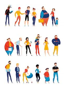 若い両親と高齢者のイラストと3つの平らな水平セットを並べるキューで待っている人
