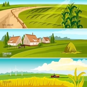 Сельская пахотная земля под культивацией и фермерские дома с стогами сена 3 горизонтальных плоских баннера