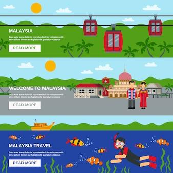 マレーシア文化3フラットバナーセット