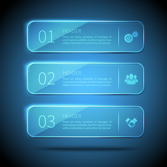 Веб-элементы 3 стеклянные пластины для инфографики на синем фоне