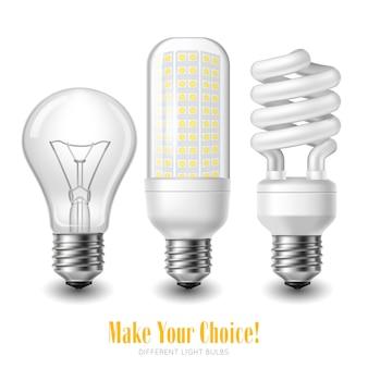 白い背景の上の3つの異なる形状の電球