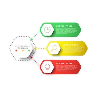 六角形の要素を持つシンプルな3つのステップレイアウトインフォグラフィックテンプレート。パンフレット、バナー、年次報告書およびプレゼンテーションのビジネスプロセス図