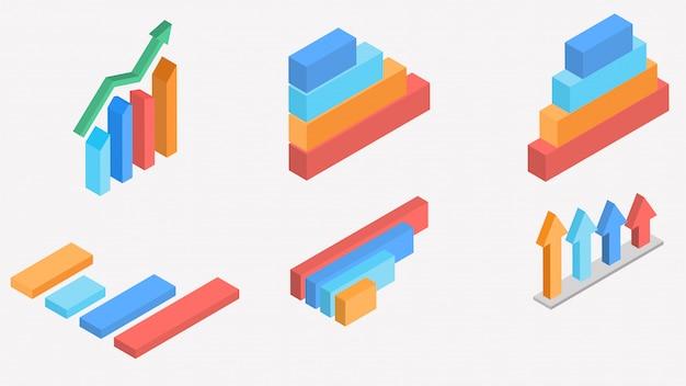 カラフルな円グラフのコレクションの3次元等尺性。