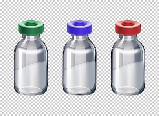 異なる色のキャップを持つ3本のボトル