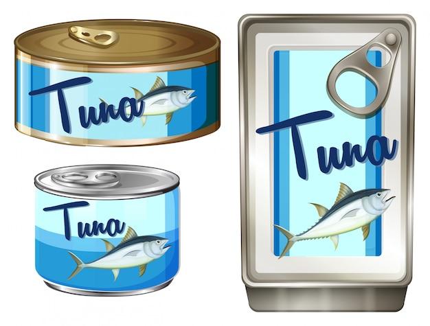 3種類のパッケージのマグロ魚