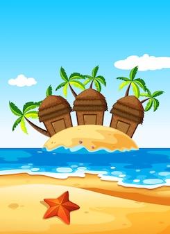島の3つの小屋
