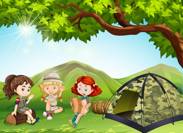 3人の女の子が野外でキャンプ
